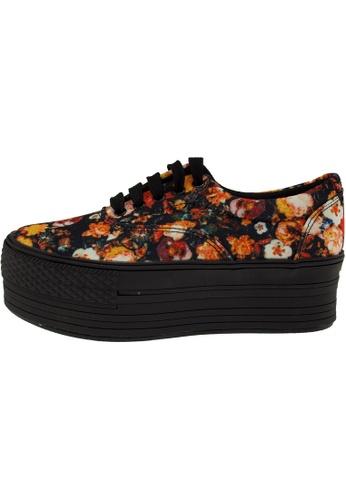 Maxstar 黑色 新款韩国鞋C50-5H-Flower時尚帆布布混合女黑橙色 US Women Size MA345SH12GSTTW_1