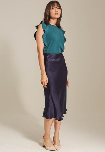 Dressing Paula navy Satin Midi Skirt 31B91AA71E7300GS_1