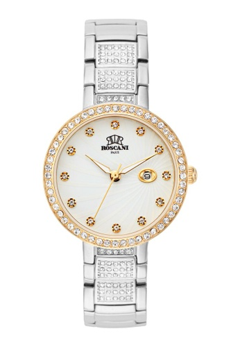 Roscani 金色 Roscani Cora E15 (寶石錶盤 + 暗纹錶面) 白面混色 不銹鋼錶帶 女表 19860ACBDECB59GS_1