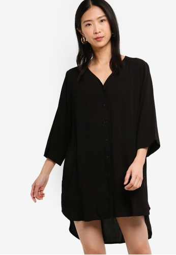 ZALORA BASICS black Basic Oversized Shirt Dress 82C1BAA6FEC5D6GS_1
