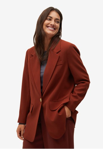 Violeta by MANGO red Plus Size Structured Suit Blazer 0C340AAA0B6D53GS_1
