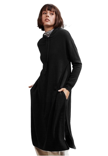 22 Factor black North Hooded Yak Cashmere-blend Dress 46865AAD9F23D9GS_1