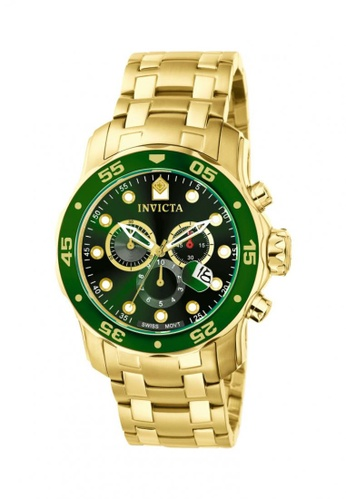 INVICTA gold Pro Diver Gold Stainless Steel Green Dial Chornograph Men Watch IN456AC94HCBMY_1