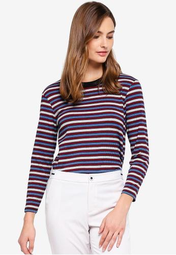 ESPRIT grey Stripe Rib Long Sleeve T-Shirt 1946DAAC94E07CGS_1
