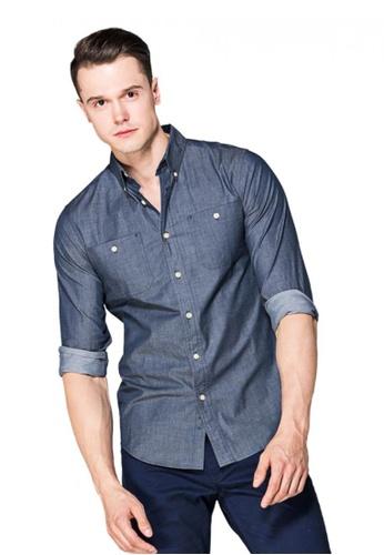 Chaps blue Chaps Cotton Button-Down Shirt CH325AA0SAP8MY_1