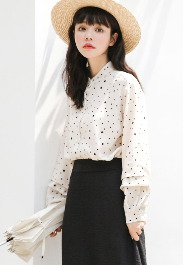 in Shopsfashion White Dot Blouse White Polka tqzpqnTxa