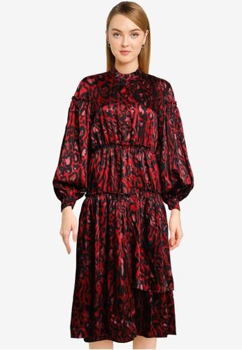 TOPSHOP red Idol Red Animal Print Midi Dress 10761AA86EB98BGS_1