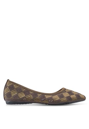 Louis Cuppers brown Mini Checker Ballerinas LO977SH41XRAMY_1