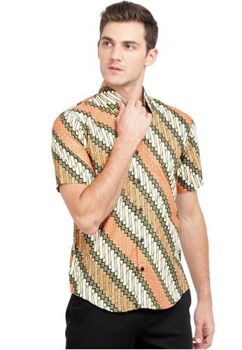 Flike Batik orange and brown Kemeja Batik Tangan Pendek Motif Lereng Orange 8623CAA4ABFA2CGS_1
