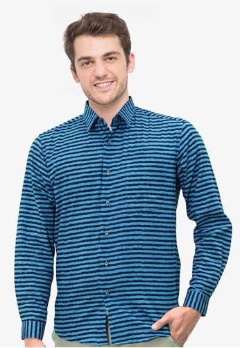 RICCIMAN blue Ricciman Modern Fit  Shirt Long Sleeve Blue L-MF108R-BR F2DD4AA8DD1004GS_1