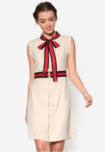 Sesprit taiwanerena 撞色蝴蝶結緞帶洋裝, 服飾, 正式洋裝