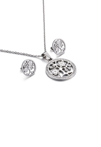 Glamorousky white Fashion and Elegant Big Tree Geometric Round 316L Stainless Steel Necklace and Stud Earrings Set with Cubic Zirconia D0DB0ACAEB2165GS_1