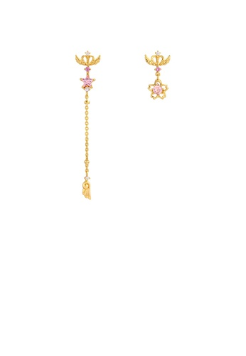 Glamorousky pink 925 Sterling Silver Plated Gold Fashion Creative Magic Wand Tassel Cherry Blossom Asymmetric Earrings with Cubic Zirconia 312F6AC4F36142GS_1