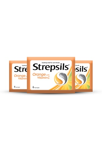 STREPSILS Strepsils Orange with Vitamin C Lozenges for Sore Throat Pouch - Bundle of 3 1FCF7ESF3790A2GS_1