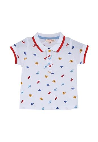 Du Pareil Au Même (DPAM) white Dino Print Polo Shirt 2F5D4KA8D16989GS_1