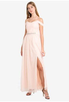b75b9fa6d0a Little Mistress beige Nude Embellished Maxi Dress AEECDAAAFF74ACGS 1