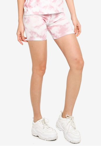 Miss Selfridge black Petite Tie Dye Cycling Shorts 53497AA25E3E23GS_1