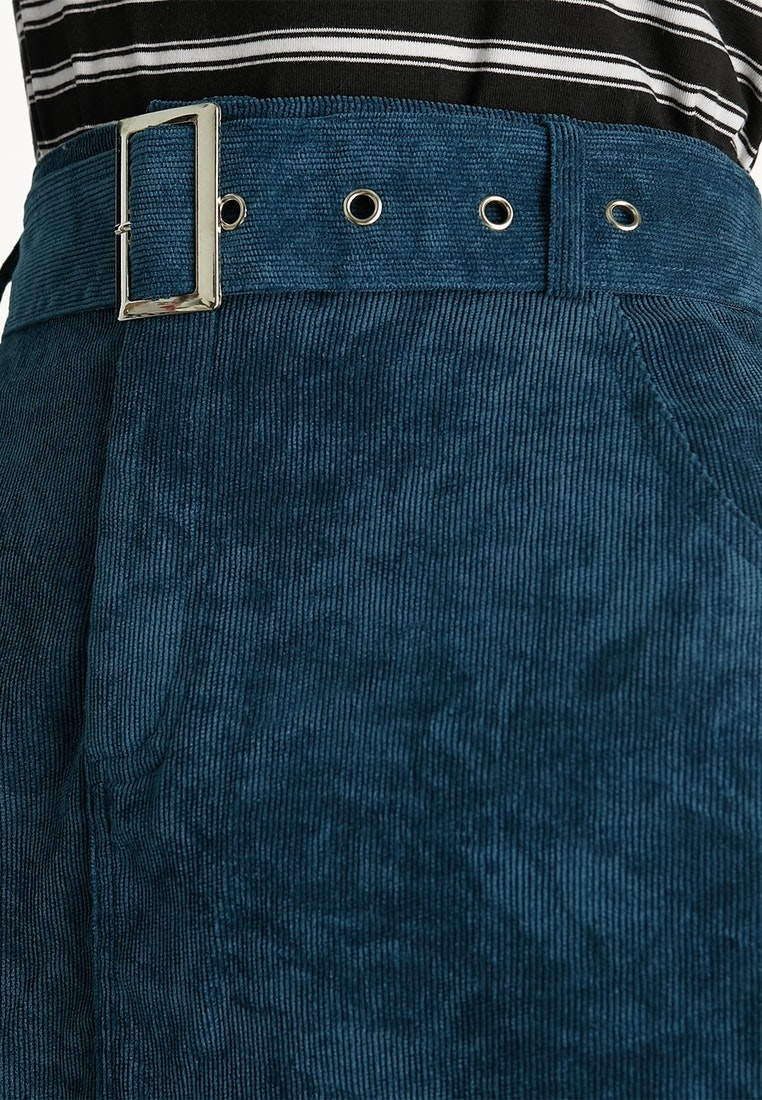 Blue Skirt Pomelo Belted Corduroy Mini Blue XwwxOzq8n