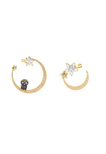 Swarovski gold Little Owl Pierced Hoop Earrings 09581AC9595577GS_1