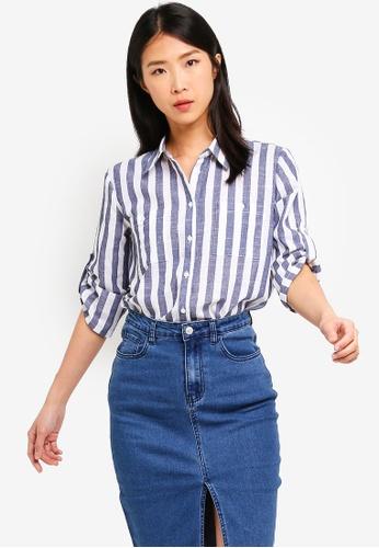 ZALORA BASICS multi Basic Rolled Sleeves Pocket Shirt D16E1AACFE214AGS_1