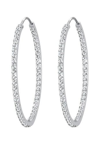 ELLI GERMANY white Earrings Hoop Crystal B6D3FACC896EA7GS_1