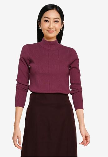 GLOBAL WORK purple Knit Sweater 87B73AA13FC672GS_1