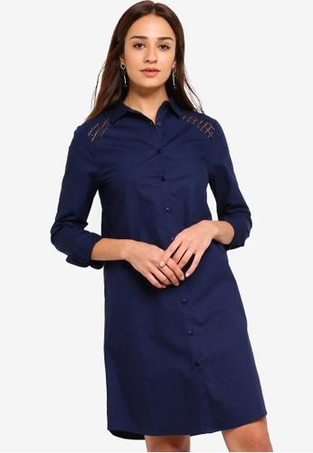 ZALORA navy Lace Panel Shirt Dress ADFACAAB1EB825GS_1