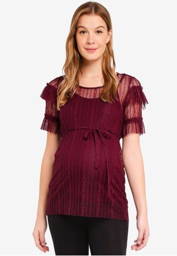 Mama.licious red Maternity sabrina 2/4 Jersey Lace Top 7FDD4AA64F103BGS_1