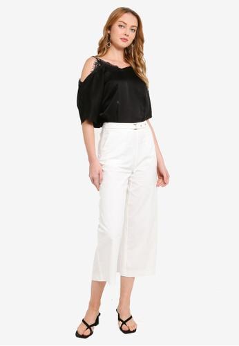 Hopeshow white Flare Capri Pants with Belt D3041AA560D54CGS_1