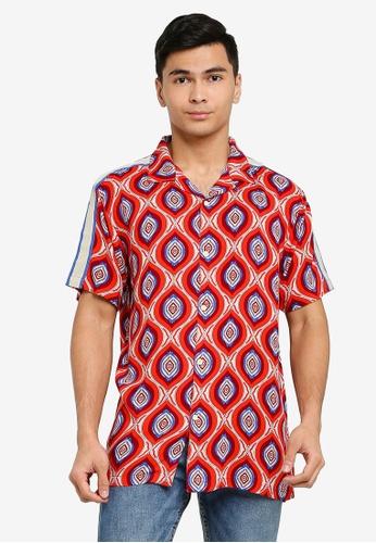 Brave Soul orange Print Short Sleeve Shirt B371EAADF1EBA5GS_1