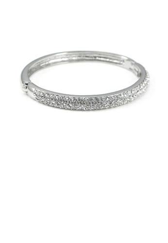 Glamorousky silver Elegant Oval-shaped Bangle with Silver Austrian Element Crystal 2BF59AC70F2640GS_1