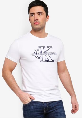Calvin Klein 白色 LOGO修身T恤 30E62AAF0D63B1GS_1