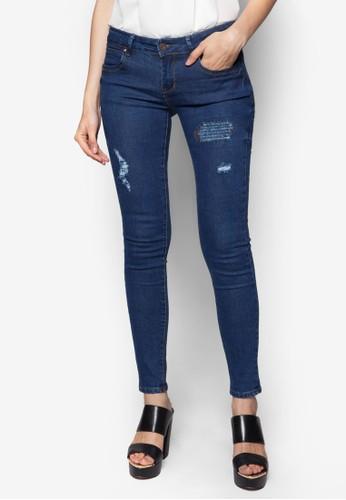 刷破窄管牛仔褲, zalora taiwan 時尚購物網服飾, 牛仔褲