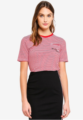 Brave Soul white and red Striped T-Shirt With Embroidery Detail 7E655AAB3FF641GS_1