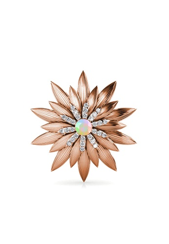 Her Jewellery gold Shiny Lotus Brooch - Made with premium grade crystals from Austria 5DF92ACCC4EBDEGS_1