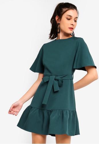 ZALORA green Ruffles Hem Fit And Flare Dress E0BA3AAB6A8D35GS_1