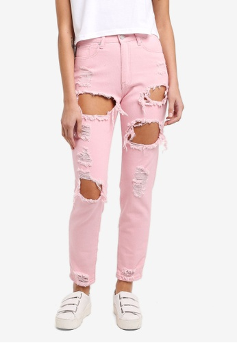 MISSGUIDED pink Riot High Rise Ripped Mom Jeans FC7CDAA976FF7BGS_1