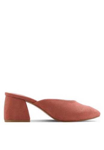 ZALORA pink Faux Suede Mid Heel Mules BF38DSH09296FFGS_1