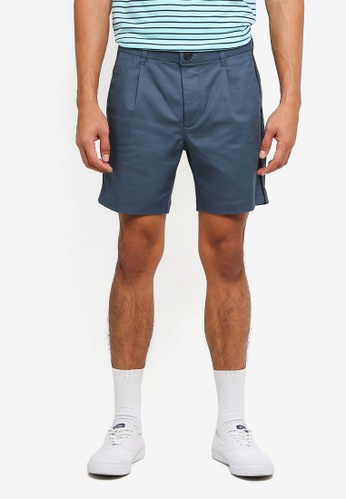 Topman blue and navy Navy Smart Pleated Tencel Shorts 1B664AAF71EBB2GS_1