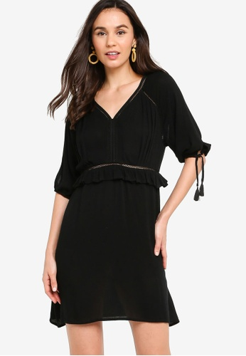 Tula Cruz black Relaxed Fit and Flare Dress with Tassels CE7F6AA1419C55GS_1