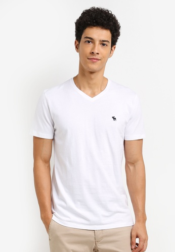 Abercrombie & Fitch white Global Pop Icon Crew V-Neck T-Shirt EAC0DAA66CB2DFGS_1