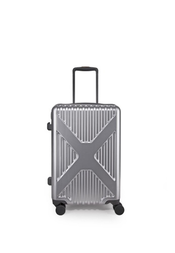 """Lushberry black and silver Axel Hardcase luggage 20"""" 8857EAC37507DAGS_1"""