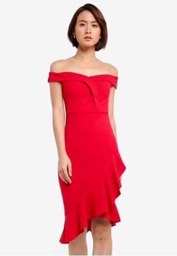 Lipsy red Red Ruffle Bardot Bodycon Dress DE886AAEF4CCA9GS_1