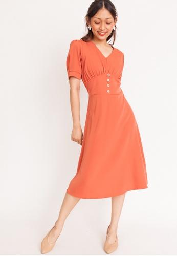 Hook Clothing orange Button Flare Midi Dress B4933AA17EC9E6GS_1