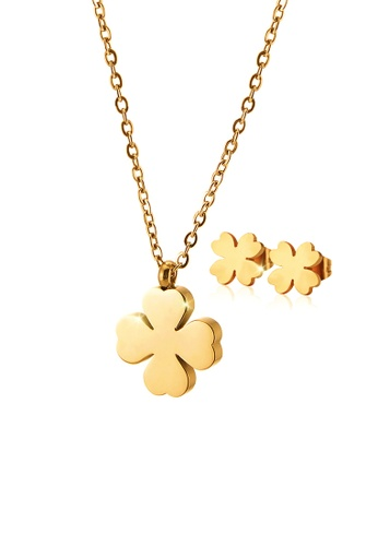 CELOVIS gold CELOVIS - Destiny Four Leaf Clover Necklace + Earrings Jewellery Set in Gold 7A92AACEFD1680GS_1