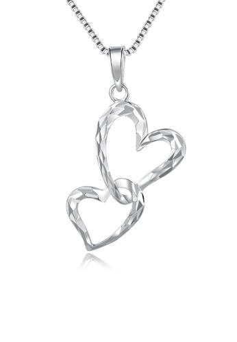 MaBelle silver 14K/585 White Color Gold Hearts Pendant Necklace F6FF5AC2533E8FGS_1
