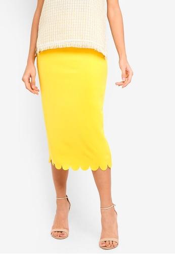 bYSI yellow Scallop Hem Pencil Skirt D9CC7AA14A159FGS_1
