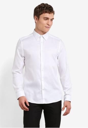 Burton Menswear London white White Diamond Textured Slim Fit Shirt BU964AA0S2AZMY_1