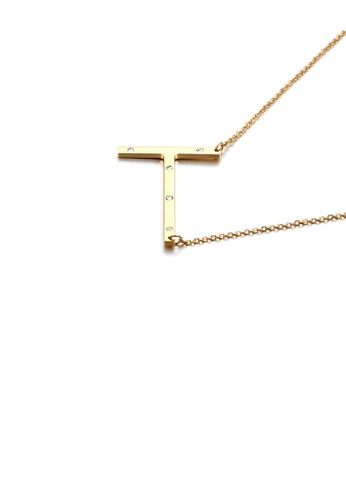Glamorousky white Simple Personality Plated Gold English Alphabet T 316L Stainless Steel Pendant with Cubic Zirconia and Necklace BBBE2ACAFED540GS_1