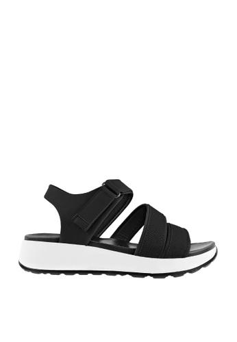 CO BLANC black and white CO BLANC Tri Strap Flat Slingback Sandals 68CAFSHD56157FGS_1